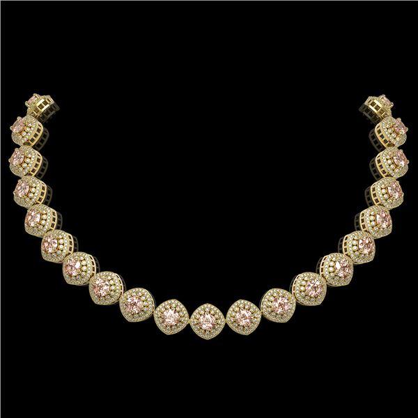 68.97 ctw Morganite & Diamond Victorian Necklace 14K Yellow Gold - REF-2349R8K