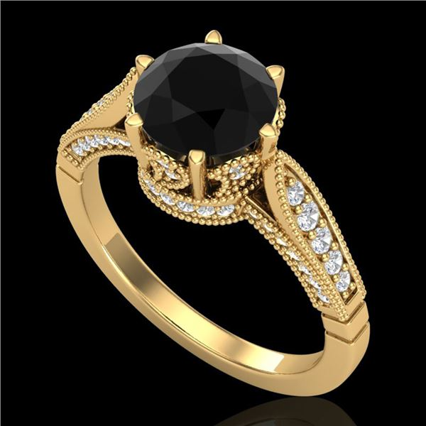 2.2 ctw Fancy Black Diamond Engagment Art Deco Ring 18k Yellow Gold - REF-141K8Y