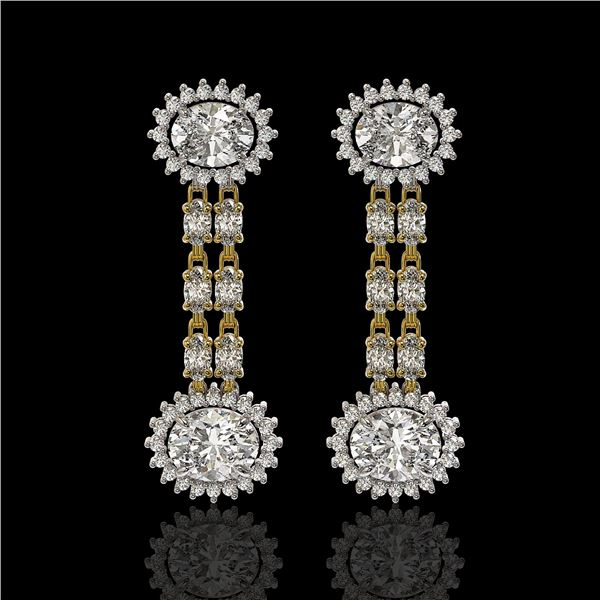 7.47 ctw Rare Oval Diamond Earrings 18K Yellow Gold - REF-1286K8Y