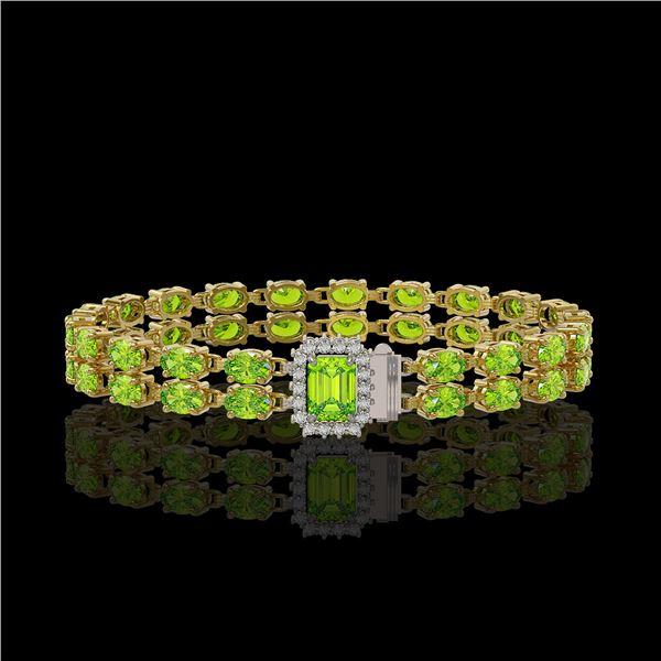 16.92 ctw Peridot & Diamond Bracelet 14K Yellow Gold - REF-236X4A