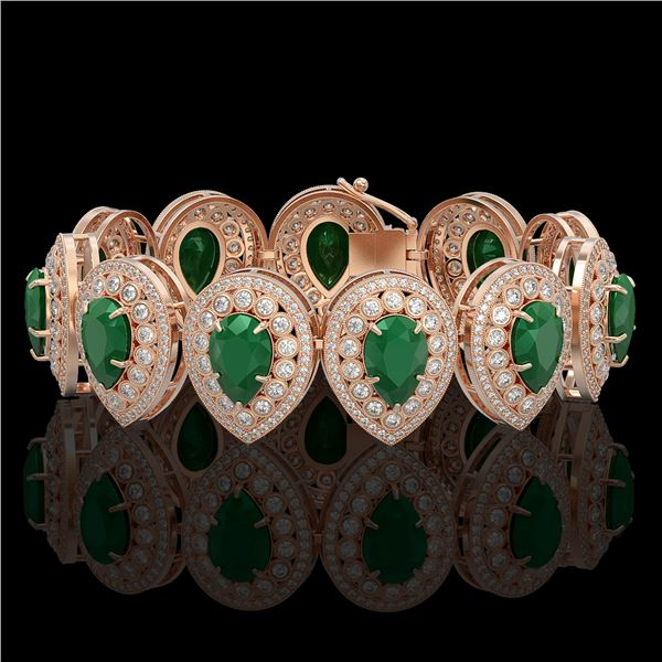 56.04 ctw Emerald & Diamond Victorian Bracelet 14K Rose Gold - REF-1745X5A