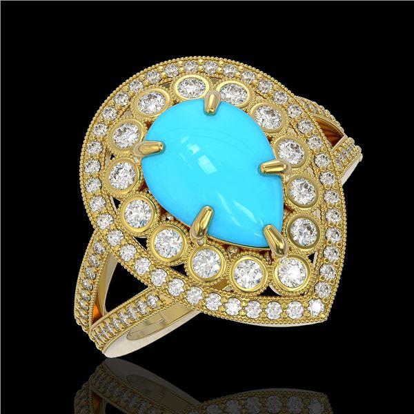 4.02 ctw Turquoise & Diamond Victorian Ring 14K Yellow Gold - REF-123H6R