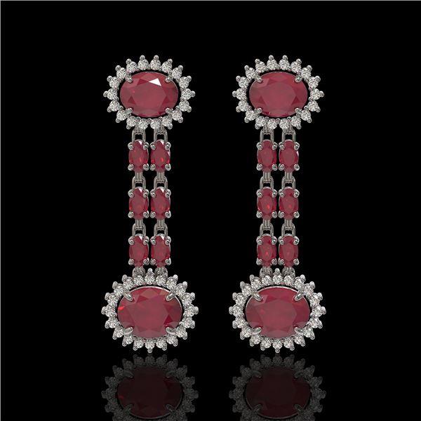 10.23 ctw Ruby & Diamond Earrings 14K White Gold - REF-227R3K