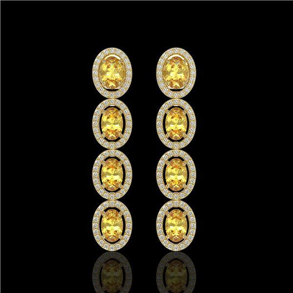 5.4 ctw Fancy Citrine & Diamond Micro Pave Halo Earrings 10k Yellow Gold - REF-143F6M