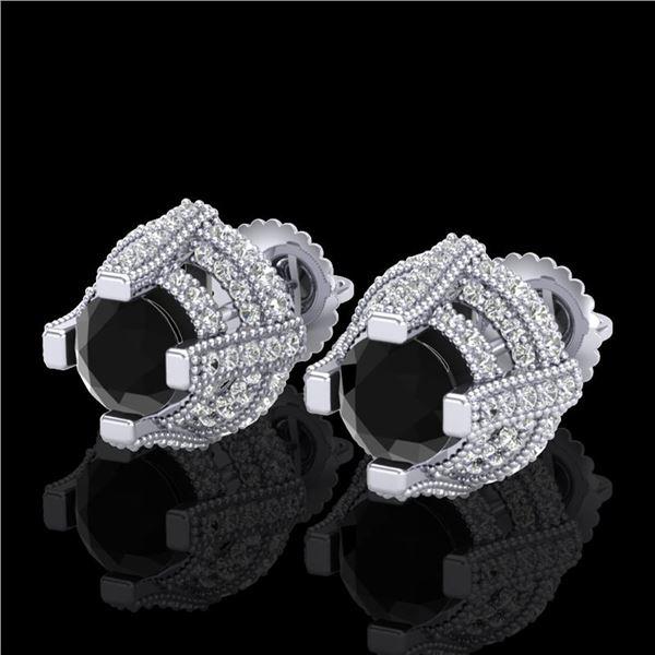 2.75 ctw Fancy Black Diamond Micro Pave Stud Earrings 18k White Gold - REF-180Y2X