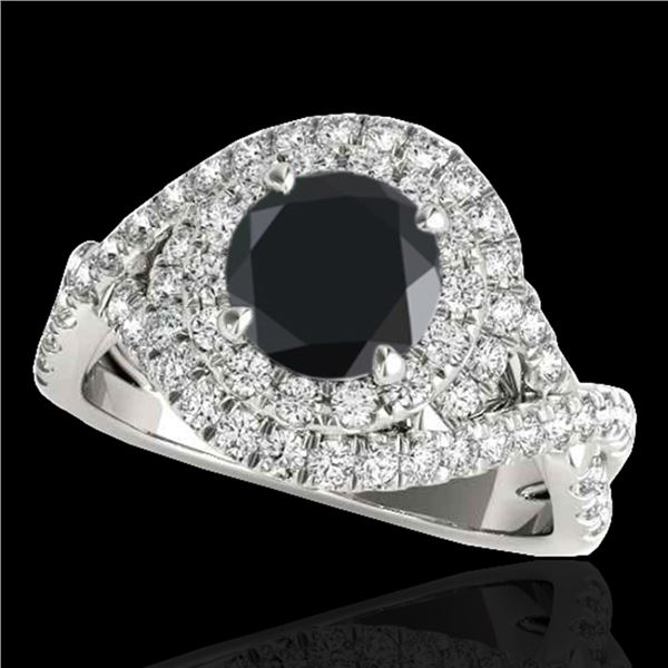 1.75 ctw Certified VS Black Diamond Solitaire Halo Ring 10k White Gold - REF-75X2A