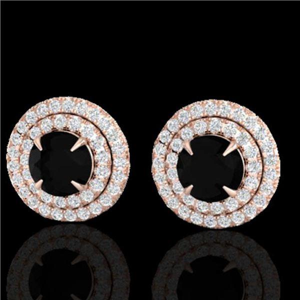 2 ctw Micro Pave VS/SI Diamond Certified Stud Earrings 14k Rose Gold - REF-100W8H