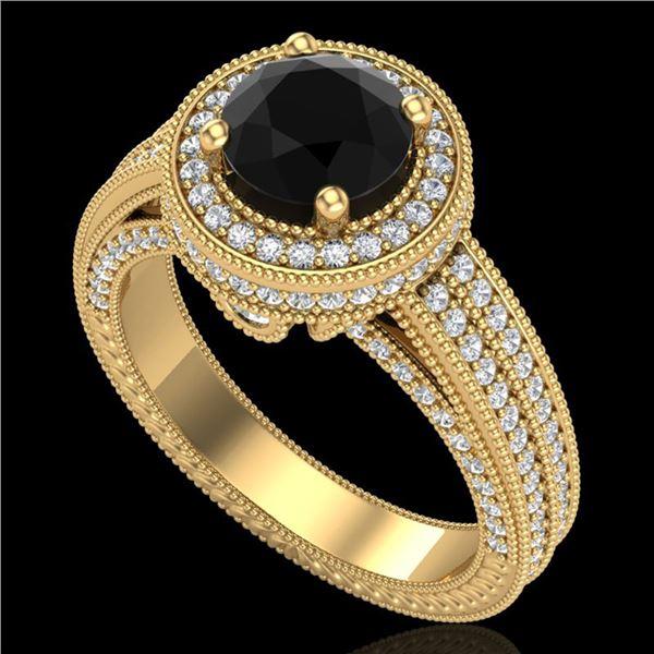 2.8 ctw Fancy Black Diamond Engagment Art Deco Ring 18k Yellow Gold - REF-236H4R