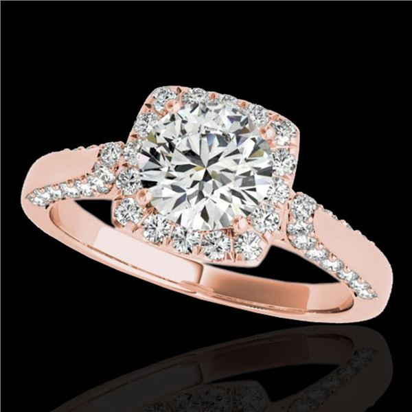 1.7 ctw Certified Diamond Solitaire Halo Ring 10k Rose Gold - REF-211G4W