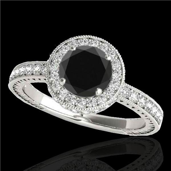 1.51 ctw Certified VS Black Diamond Solitaire Halo Ring 10k White Gold - REF-56K2Y
