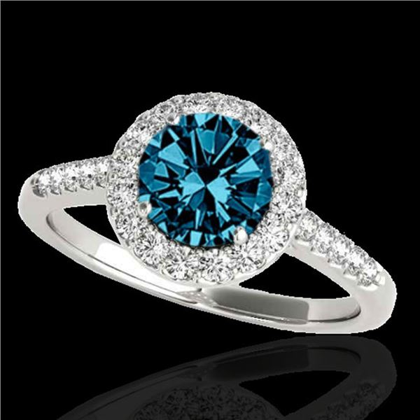 2 ctw SI Certified Fancy Blue Diamond Solitaire Halo Ring 10k White Gold - REF-259K3Y
