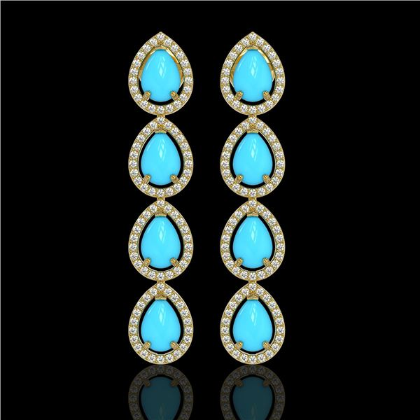 6.20 ctw Turquoise & Diamond Micro Pave Halo Earrings 10k Yellow Gold - REF-158H2R