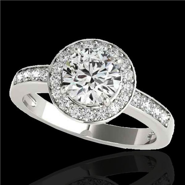 2 ctw Certified Diamond Solitaire Halo Ring 10k White Gold - REF-327F3M