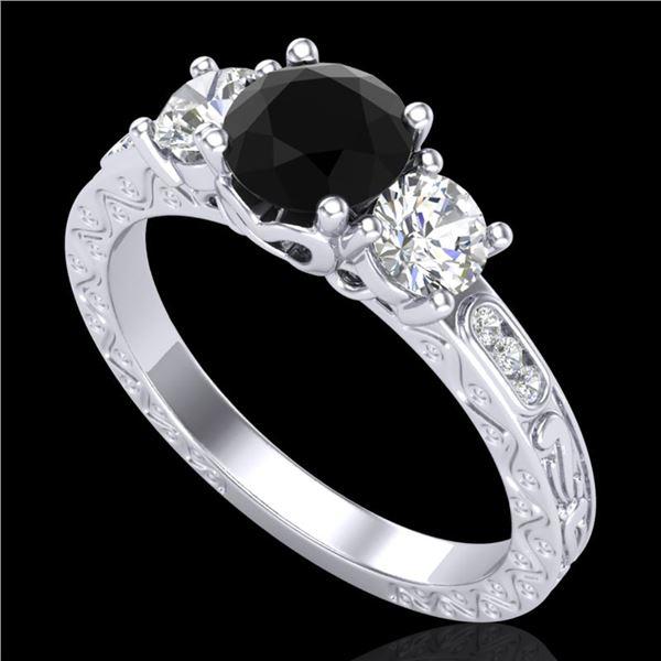 1.41 ctw Fancy Black Diamond Art Deco 3 Stone Ring 18k White Gold - REF-138A2N
