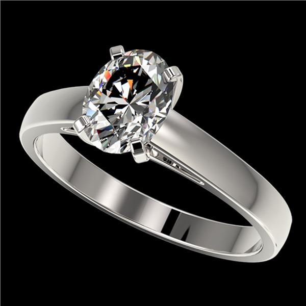 1.25 ctw Certified VS/SI Quality Oval Diamond Ring 10k White Gold - REF-304G6W