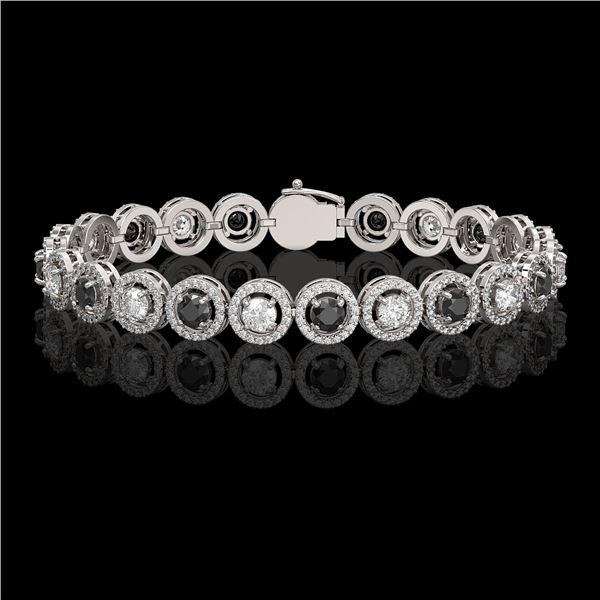 8.83 ctw Black & Diamond Micro Pave Bracelet 18K White Gold - REF-569A5N