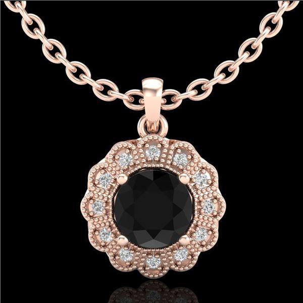 1.15 ctw Fancy Black Diamond Art Deco Stud Necklace 18k Rose Gold - REF-89X3A
