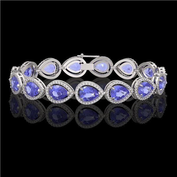 21.06 ctw Tanzanite & Diamond Micro Pave Halo Bracelet 10k White Gold - REF-532X4A