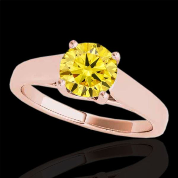 1.5 ctw Certified SI/I Fancy Intense Yellow Diamond Ring 10k Rose Gold - REF-327H3R