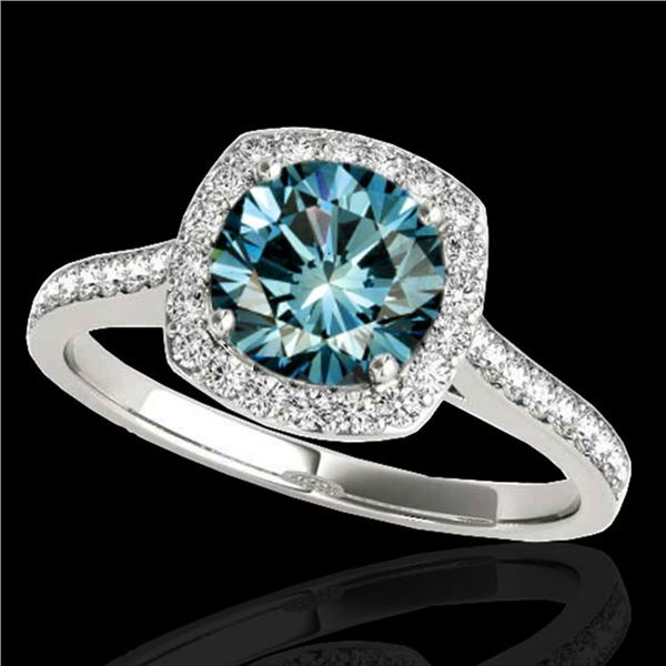 1.65 ctw SI Certified Fancy Blue Diamond Halo Ring 10k White Gold - REF-156A8N