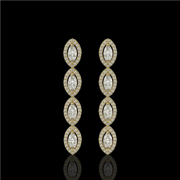 3.84 ctw Marquise Cut Diamond Micro Pave Earrings 18K Yellow Gold - REF-334W6H