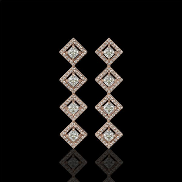 4.01 ctw Princess Cut Diamond Micro Pave Earrings 18K Rose Gold - REF-346A3N