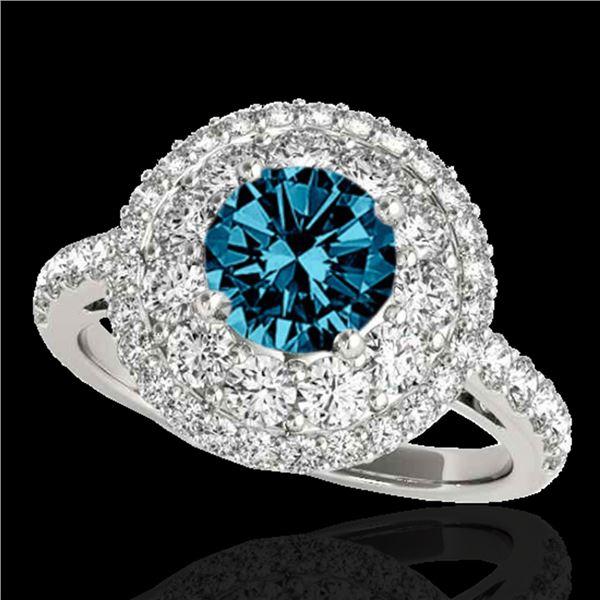 2.09 ctw SI Certified Fancy Blue Diamond Halo Ring 10k White Gold - REF-165W2H