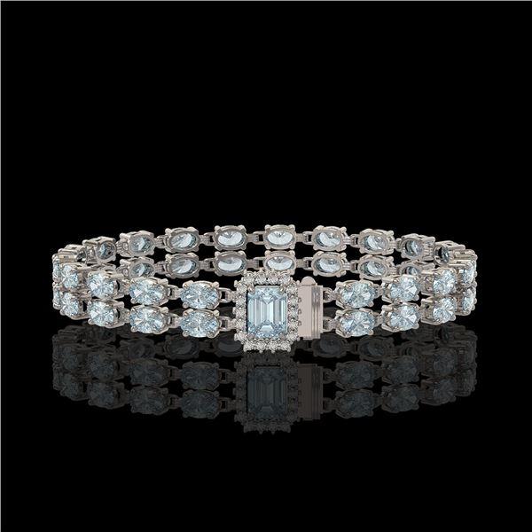 14.35 ctw Aquamarine & Diamond Bracelet 14K White Gold - REF-236F4M