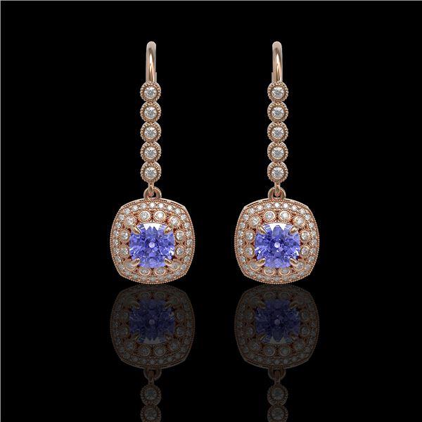 5.2 ctw Certified Tanzanite & Diamond Victorian Earrings 14K Rose Gold - REF-172N8F