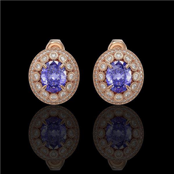 9.06 ctw Tanzanite & Diamond Victorian Earrings 14K Rose Gold - REF-286H8R