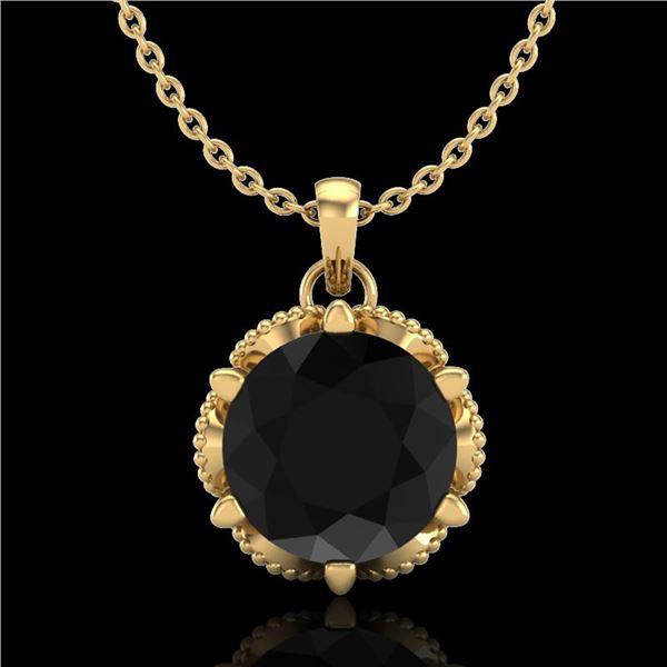 1.36 ctw Fancy Black Diamond Art Deco Stud Necklace 18k Yellow Gold - REF-85G5W