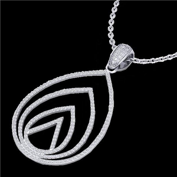 1.25 ctw Micro Pave VS/SI Diamond Designer Necklace 18k White Gold - REF-119X8A