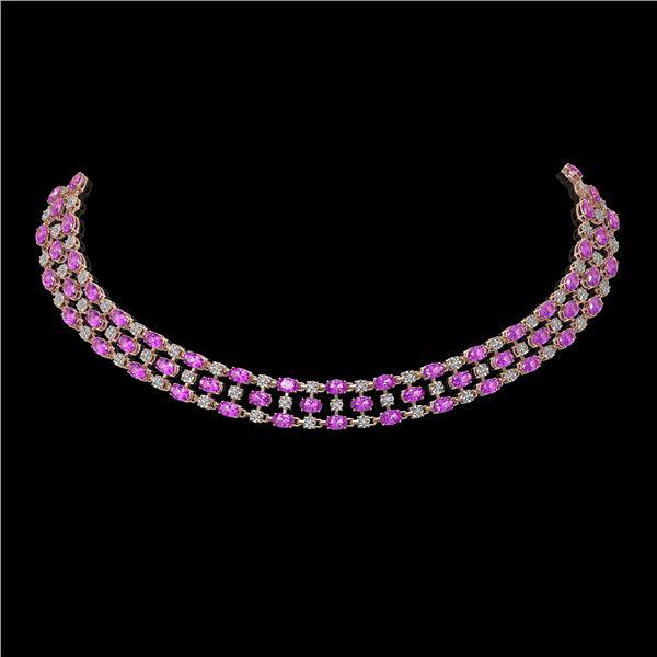 53.09 ctw Amethyst & Diamond Necklace 10K Rose Gold - REF-527A3N