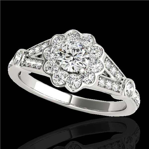 1.9 ctw Certified Diamond Solitaire Halo Ring 10k White Gold - REF-231A8N