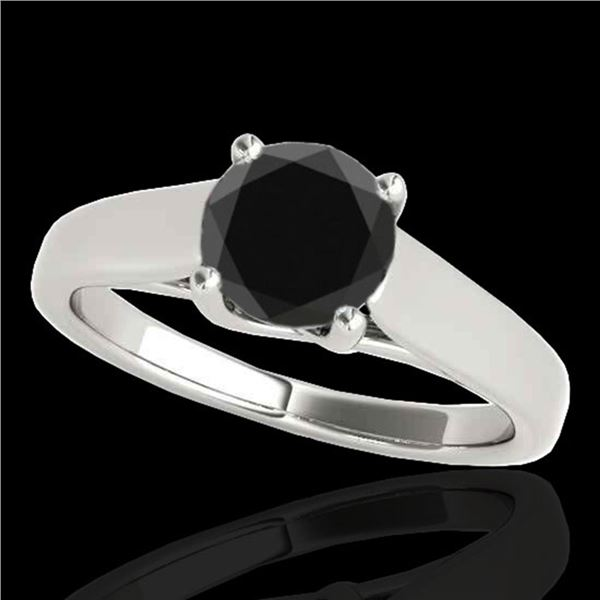 1.5 ctw Certified VS Black Diamond Solitaire Ring 10k White Gold - REF-61H4R