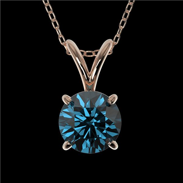 0.75 ctw Certified Intense Blue Diamond Necklace 10k Rose Gold - REF-54Y2X