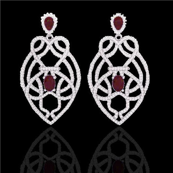7 ctw Ruby & Micro VS/SI Diamond Heart Earrings Designer 14k White Gold - REF-381H8R