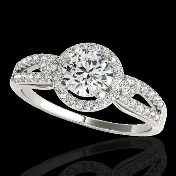 1.25 ctw Certified Diamond Solitaire Halo Ring 10k White Gold - REF-190R9K