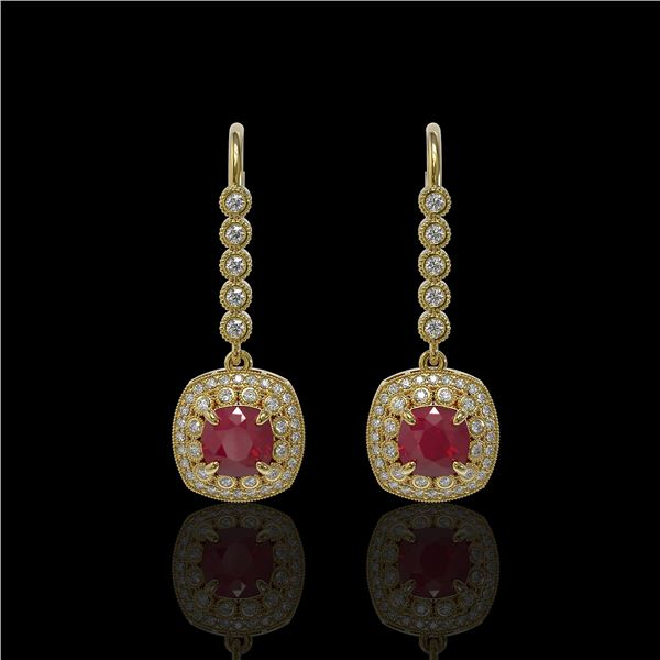 5.1 ctw Certified Ruby & Diamond Victorian Earrings 14K Yellow Gold - REF-172A8N