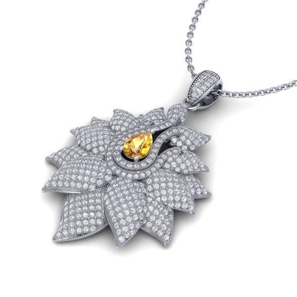 3 ctw Sapphire & Micro Pave VS/SI Diamond Necklace 18k White Gold - REF-290H9R