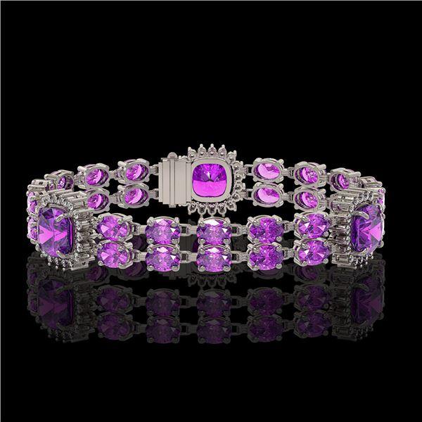 16.25 ctw Amethyst & Diamond Bracelet 14K White Gold - REF-263N6F