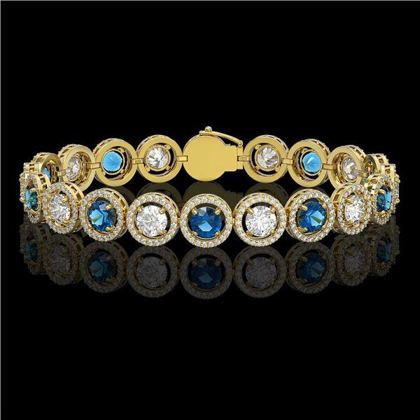 13.56 ctw Blue & Diamond Micro Pave Bracelet 18K Yellow Gold - REF-2426N6F
