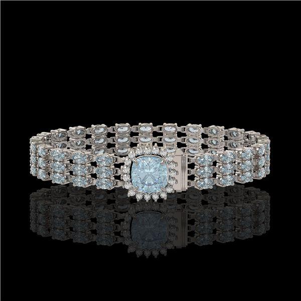 29.89 ctw Sky Topaz & Diamond Bracelet 14K White Gold - REF-281M8G