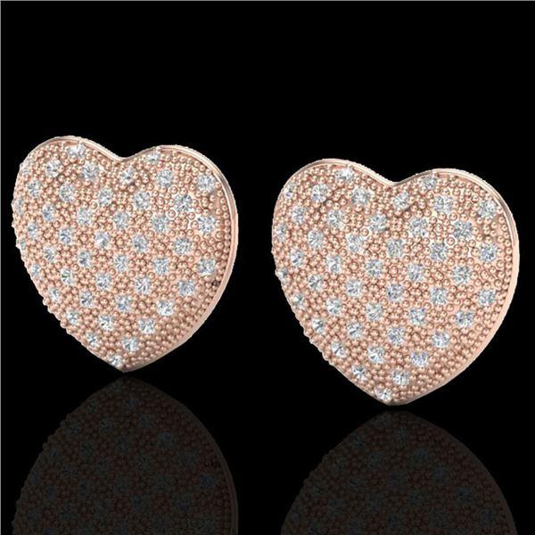 1.50 ctw Micro Pave VS/SI Diamond Heart Earrings 14k Rose Gold - REF-110M4G