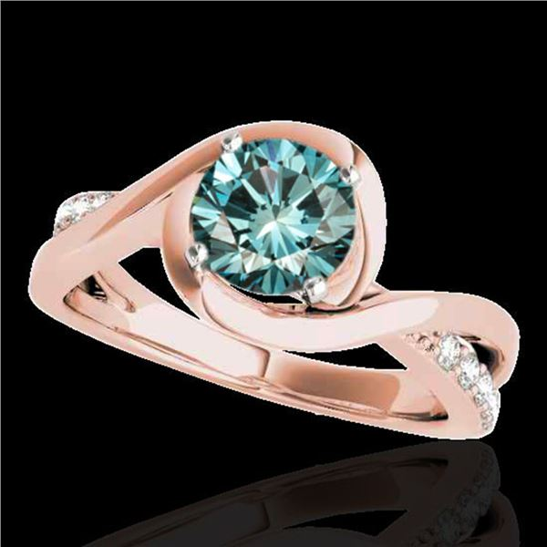 1.15 ctw SI Certified Fancy Blue Diamond Solitaire Ring 10k Rose Gold - REF-113G2W