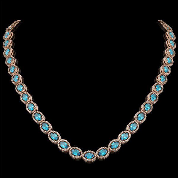 33.25 ctw Swiss Topaz & Diamond Micro Pave Halo Necklace 10k Rose Gold - REF-600K2Y