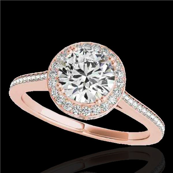 1.55 ctw Certified Diamond Solitaire Halo Ring 10k Rose Gold - REF-204M5G