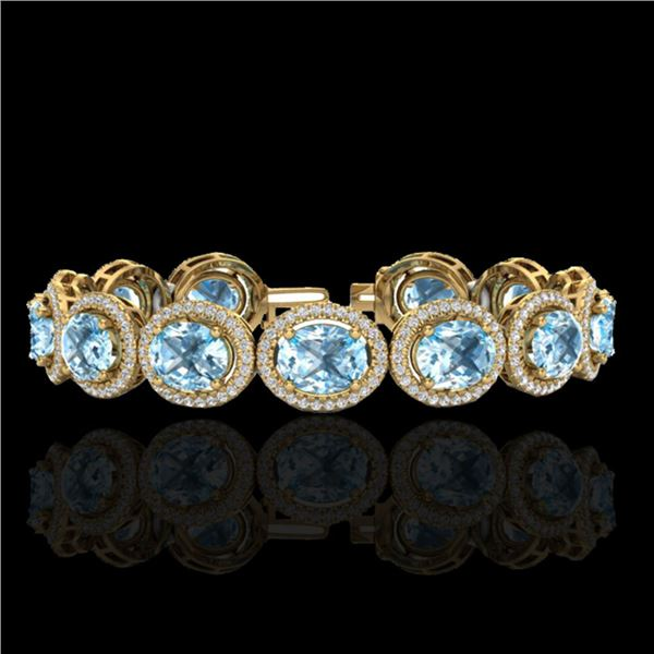 30 ctw Sky Blue Topaz & Micro Pave VS/SI Diamond Bracelet 10k Yellow Gold - REF-360X2A