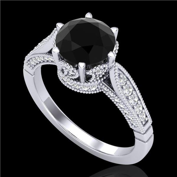 2.2 ctw Fancy Black Diamond Engagment Art Deco Ring 18k White Gold - REF-141G8W