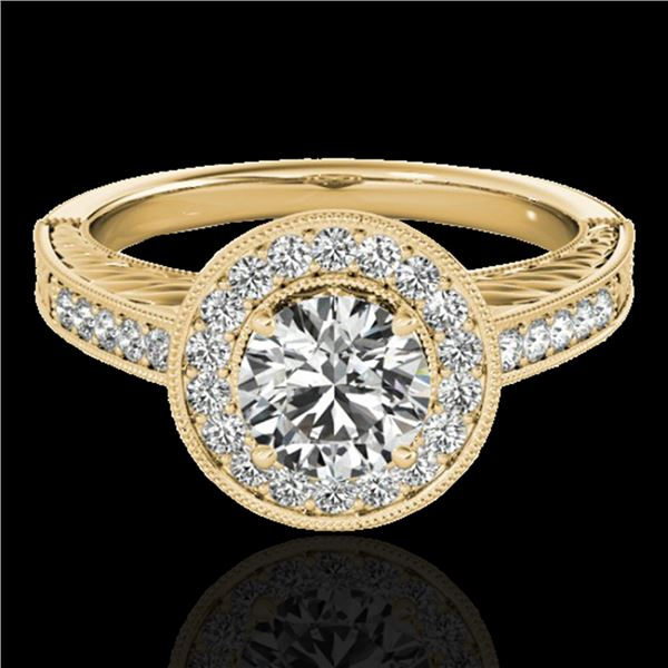 1.5 ctw Certified Diamond Solitaire Halo Ring 10k Yellow Gold - REF-231N8F